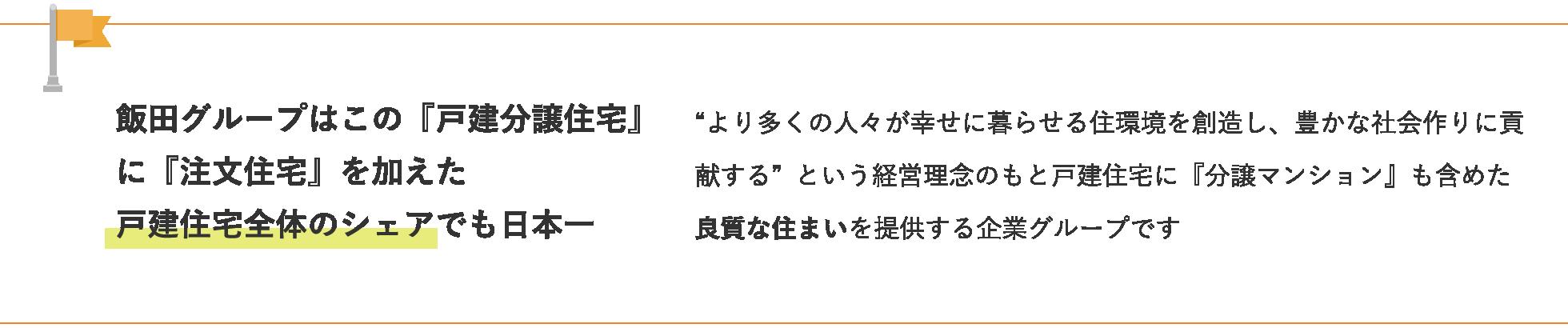 """飯田グループはこの『戸建分譲住宅』に『注文住宅』を加えた""""より多くの人々が幸せに暮らせる住環境を創造し、豊かな社会作りに貢献する""""という経営理念のもと戸建住宅に『分譲マンション』も含めた良質な住まいを提供する企業グループです戸建住宅全体のシェアでも日本一"""